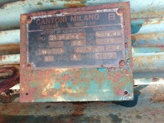 Used Asynchronous Three-Phase Motor Cantoni Milano Sg250M6