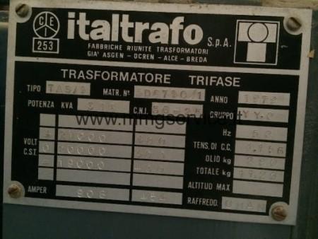 Used Three Phase Transformer 315 KVA oil immersed
